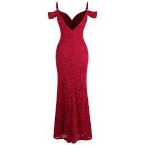 Image 2 - מלאך אופנת נשים של חלוק דה soiree סירה צוואר קפל תחרה ואגלי פיצול בת ים ארוך אדום המפלגה שמלת 425 200