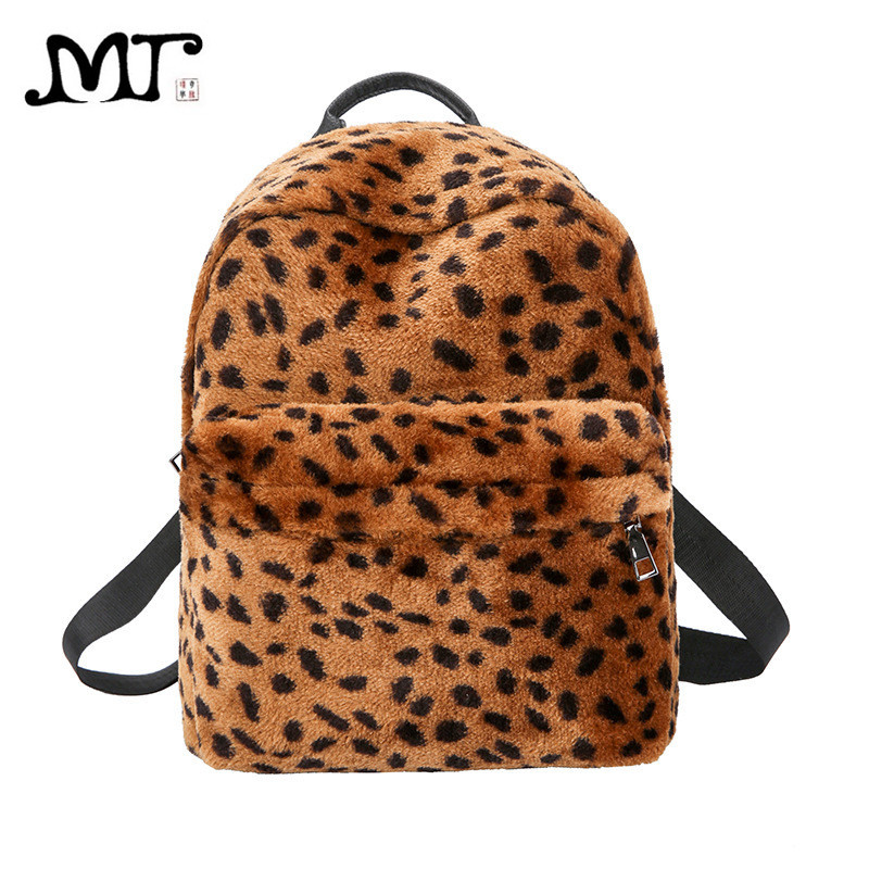 MJ Women Leopard Backpack PU Leather Velvet Travel Bag Female Printed  School Bag for Teenage Girls Large Fashion Fur Backpack-in Backpacks from  Luggage ...