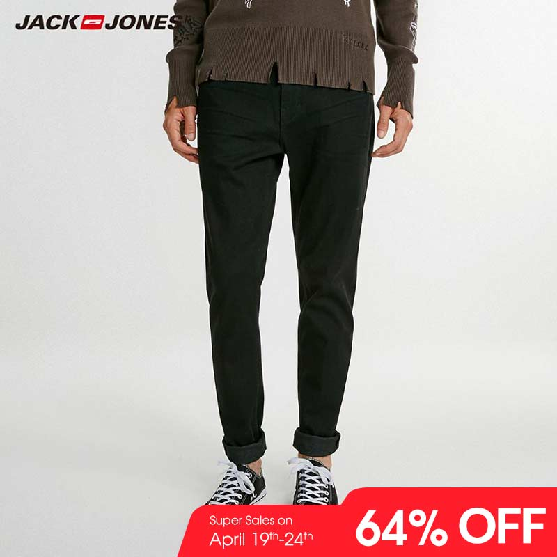 JackJones Men's Winter Cotton Stretch Casual   Jeans   Business Casual Slim   Jeans   Classic Trousers Denim Pants Male J|218332590