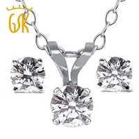 GemStoneKing Diamant-Bijoux 14 K Or Blanc Pendentif et Boucles D'oreilles Collier Set 0.65 Ct Diamant Naturel Bijoux Ensembles Pour femmes