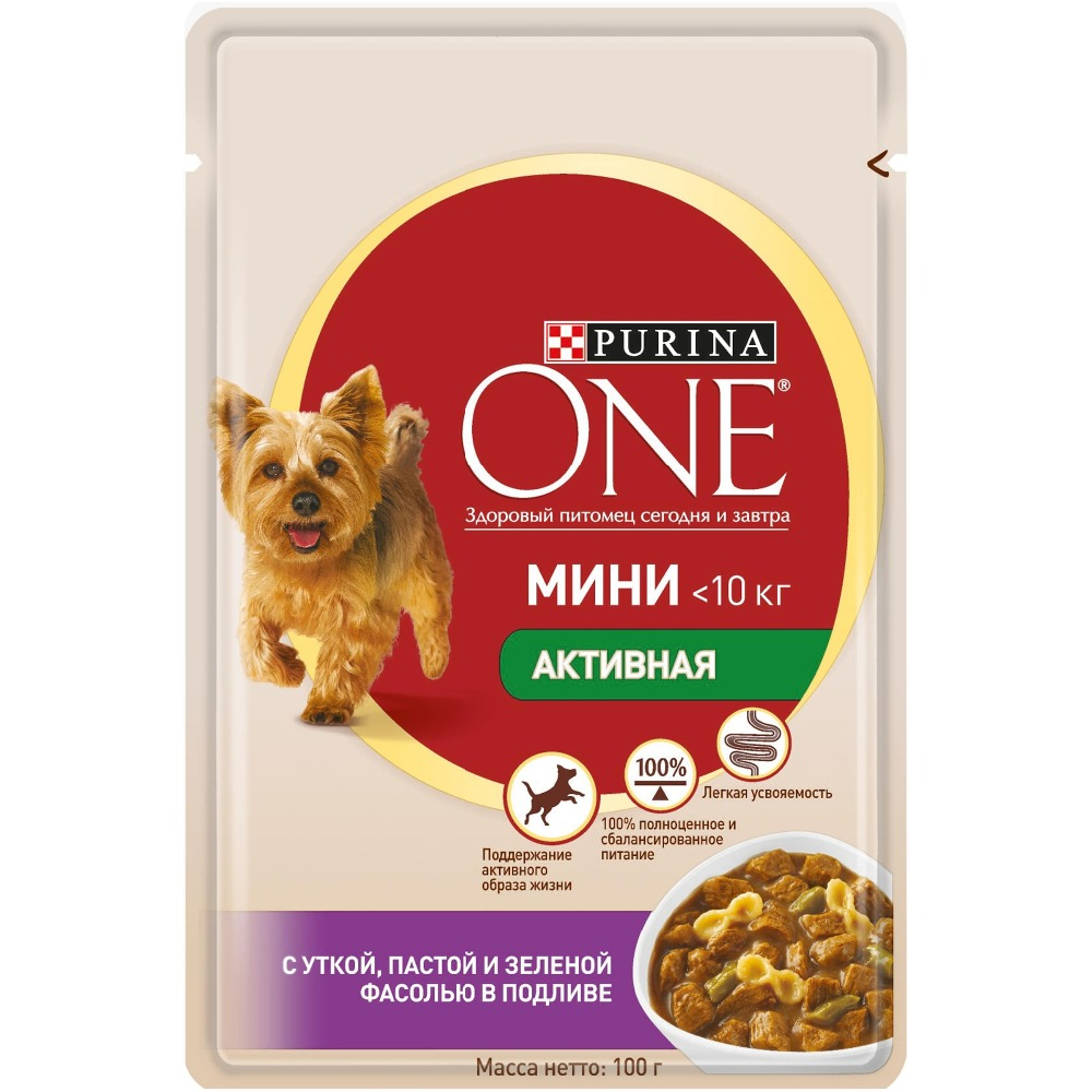 Wet food for dogs of small breeds Purina One Mini Active, with duck, paste and green beans in gravy, Pouch, 24x100 g. 3w 3 led rgb sound active crystal mini party light transparent green white