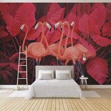 Custom 3d Wallpaper Mural Tropical Plant Leaf Flamingo Living Room Bedroom Wall - Premium Waterproof Material все цены