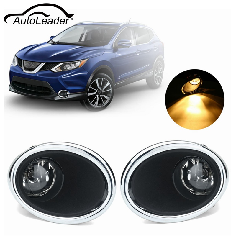 A Pair Front Bumper Fog Lights Driving Lamps Lens H8 Bulb Kit For Nissan Rogue Sport 2017-2018 Bright Light Lamp Covers 1set front chrome housing clear lens driving bumper fog light lamp grille cover switch line kit for 2007 2009 toyota camry