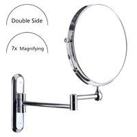8 pollice Nastro Rotondo Double Side Parete Specchio Per Il Trucco Bagno Rasatura Ingrandimento Specchio 7x Ingrandimento Pieghevole Specchi