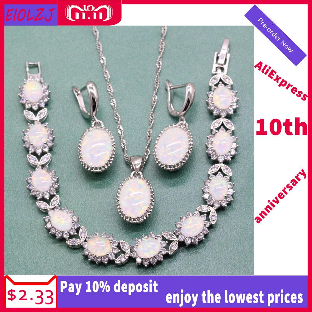 Elegant Oval White Australian Fire Opal 925 Sterling Silver Jewelry Sets For Women Necklace Dangle Earrings With Opal Bracelet комод нк 6