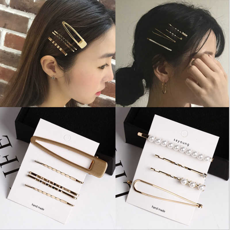 3pcs/4pcs/5pcs Metal Pearl Hairpin Combination Bangs Clip Side Clip Card Simple Hair Clips Barrettes Headwear Hair Styling