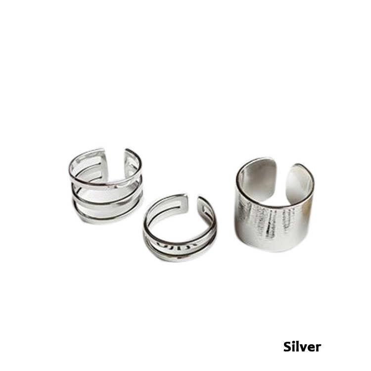 3 teile/satz Punk Polnischen Gold Silber Stapel Plain Band Midi Mid Finger Knuckle Ring-Set Rock Gold Silber RING- 0221