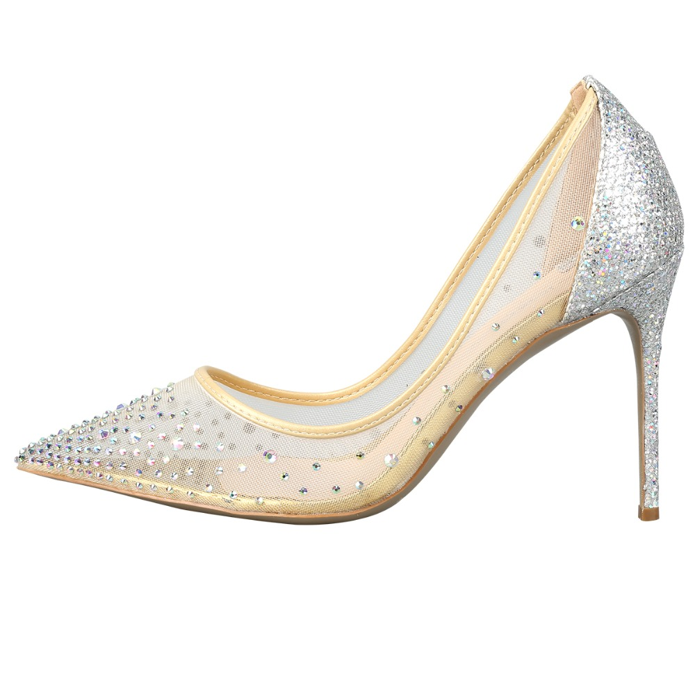 Plus Size 34-43 High Quality Mesh Air Crystal Women Pumps Sheep Skin Insoles High Heels Woman Wedding Party Shoes