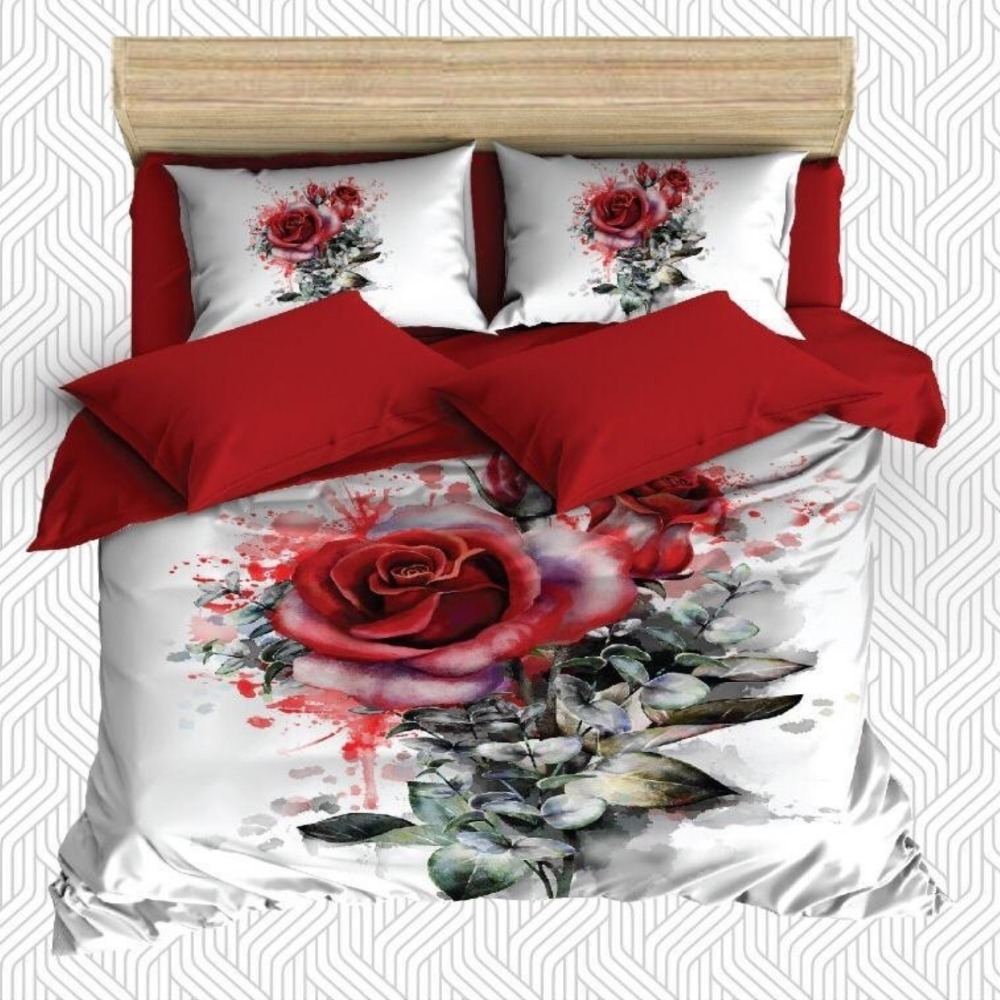 Else 6 Piece Watercolor Red Roses Green Leaves White 3D Print Cotton Satin Double Duvet Cover Bedding Set Pillow Case Bed Sheet|Duvet Cover| |  - title=