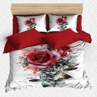 Outra Peça Aquarela 6 Rosas Vermelhas Folhas Verdes Branco 3D Impressão Cetim de Algodão Capa Dupla Duvet Conjunto de Cama Fronha folha de cama