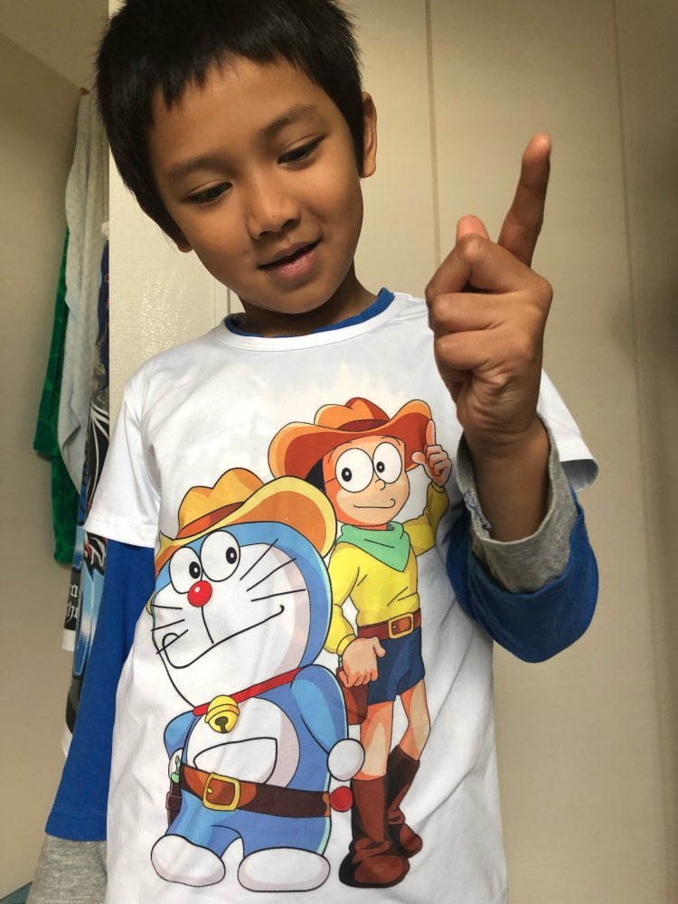 Summer white cartoon print short sleeve t shirt Doraemon Boy and girl kawaii t shirt tee Children's high quality clothing C10-15