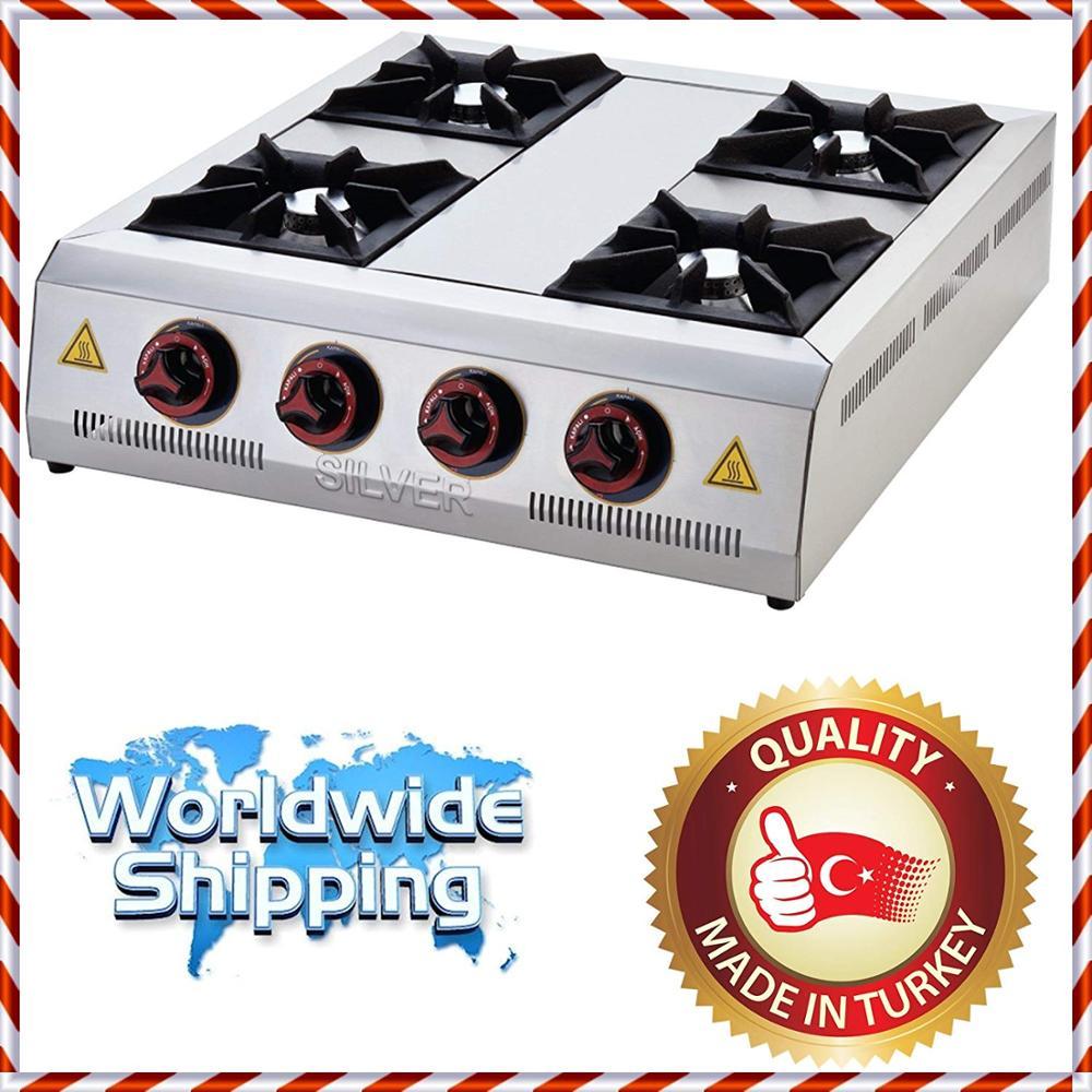 Commercial Kitchen RANGETOP 4 Burner Cast Iron Cooktop Propane Gas LPG Countertop Hot Plate Range Stove Cooker CE Certified.