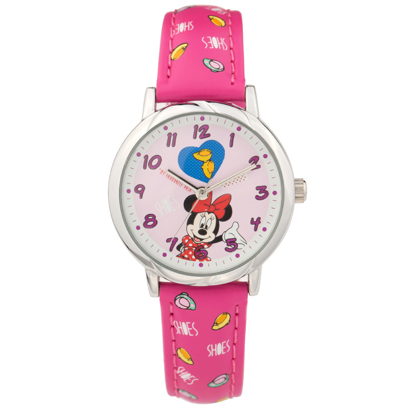 Disney brand original carton NO.MK-14008 minnie mouse leather quartz watches children for girls students waterproof wristwatches
