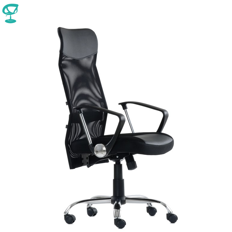 K133HFbBl Black Office Chair Barneo K-133H Fabric And Mesh High Back Chrome Armrests Withgas Lift Roller Free Shipping In Russia