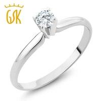 Charles & C Olvard 4มิลลิเมตร0.25ct M Oissaniteแหวน14พันสีขาวG Oldหมั้นงานแต่งงานแหวนSolitaireสำหรับผู้หญิ