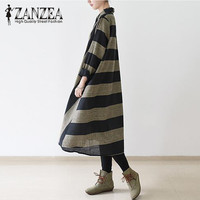 S 5XL ZANZEA Fashion Women Striped Buttons Shirt Dress Autumn Turn Down Collar Long Sleeve Loose