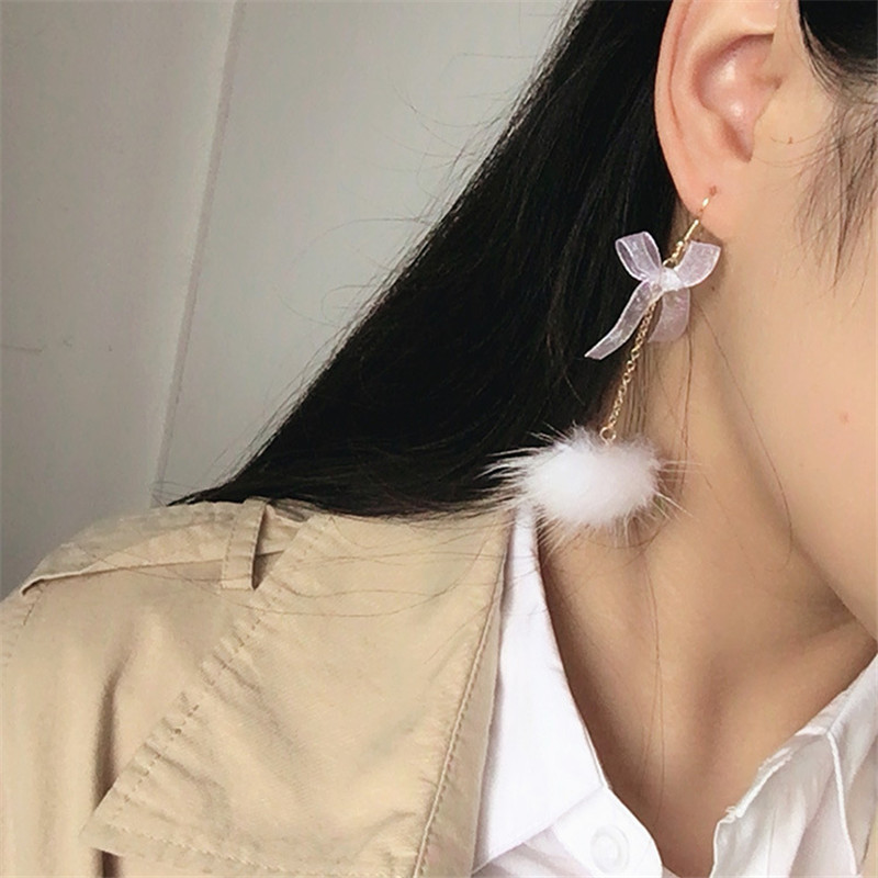 Fashion Cute Bow White PInk Artificial Mink Hair Ball Pompom Dangle Earring For Women Girls Ear Jewelry Gifts