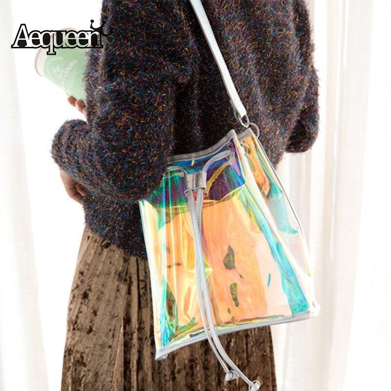AEQUEEN Casual Bucket Bag Women Leather Drawstring Shoulder Bag Tassel Brand Hologram Laser Handbag Jelly Transparent Tote Clear