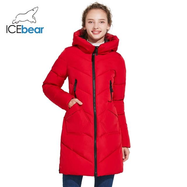 ICEbear 2018 Зимняя женская куртка средней длины с воротником модная парка с застёжкой-молнией и нагрудными карманами 17G612D