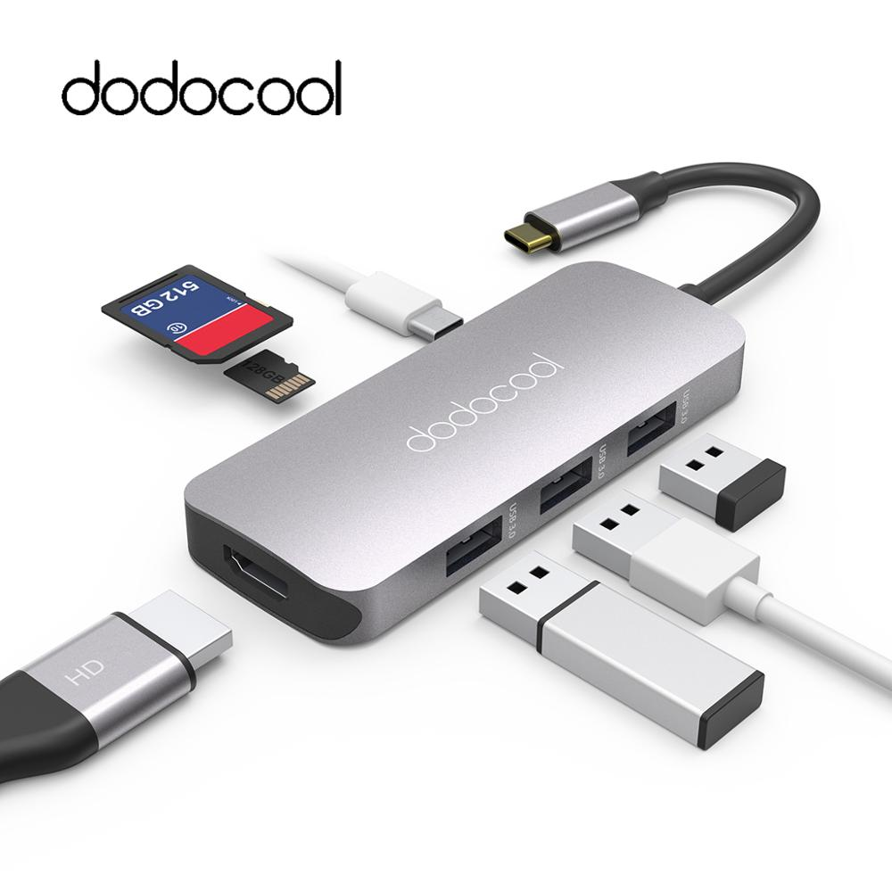 dodocool 7-in-1 USB-C Hub with Type-C Power Delivery 4K Video HD Output SD/TF Card Reader for MacBook/MacBook Pro/Google Pixel wood