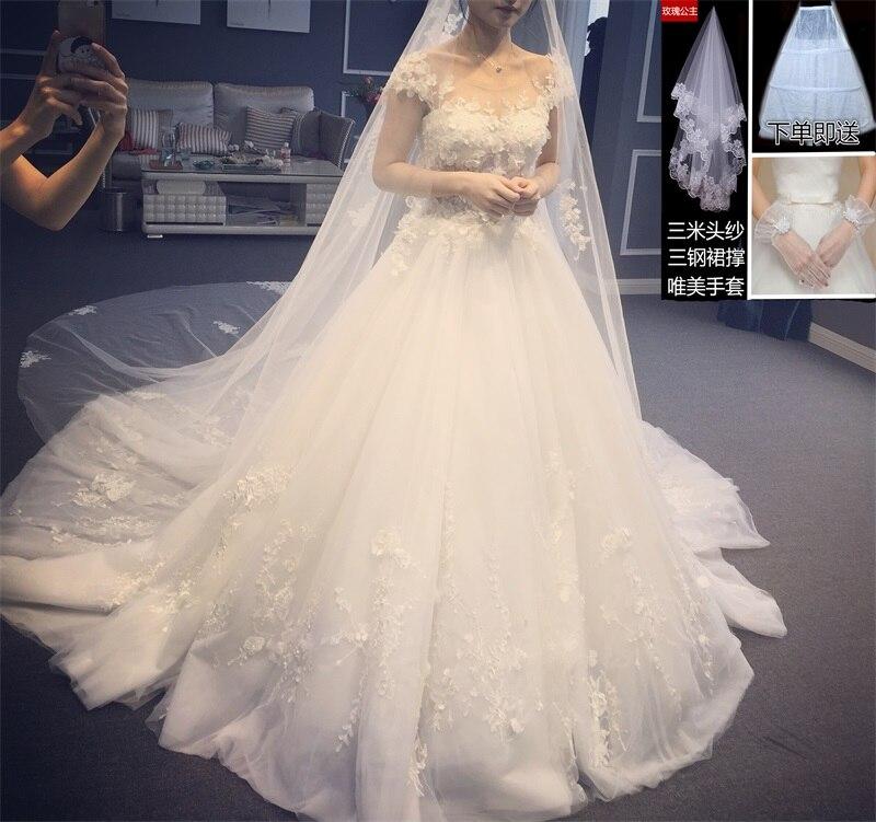 Tailles personnalisées Train blanc robe pour femmes Split 3D dentelle Slash cou mariage grande taille plage Vestido 2019 femmes vêtements OWD193016 - 4
