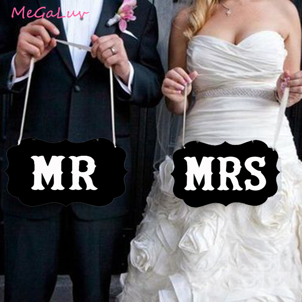 1set MR&MRS Photo Props Wedding Decorations Table Chair Sign Bride To Be Party Rustic Wedding Party Decoration