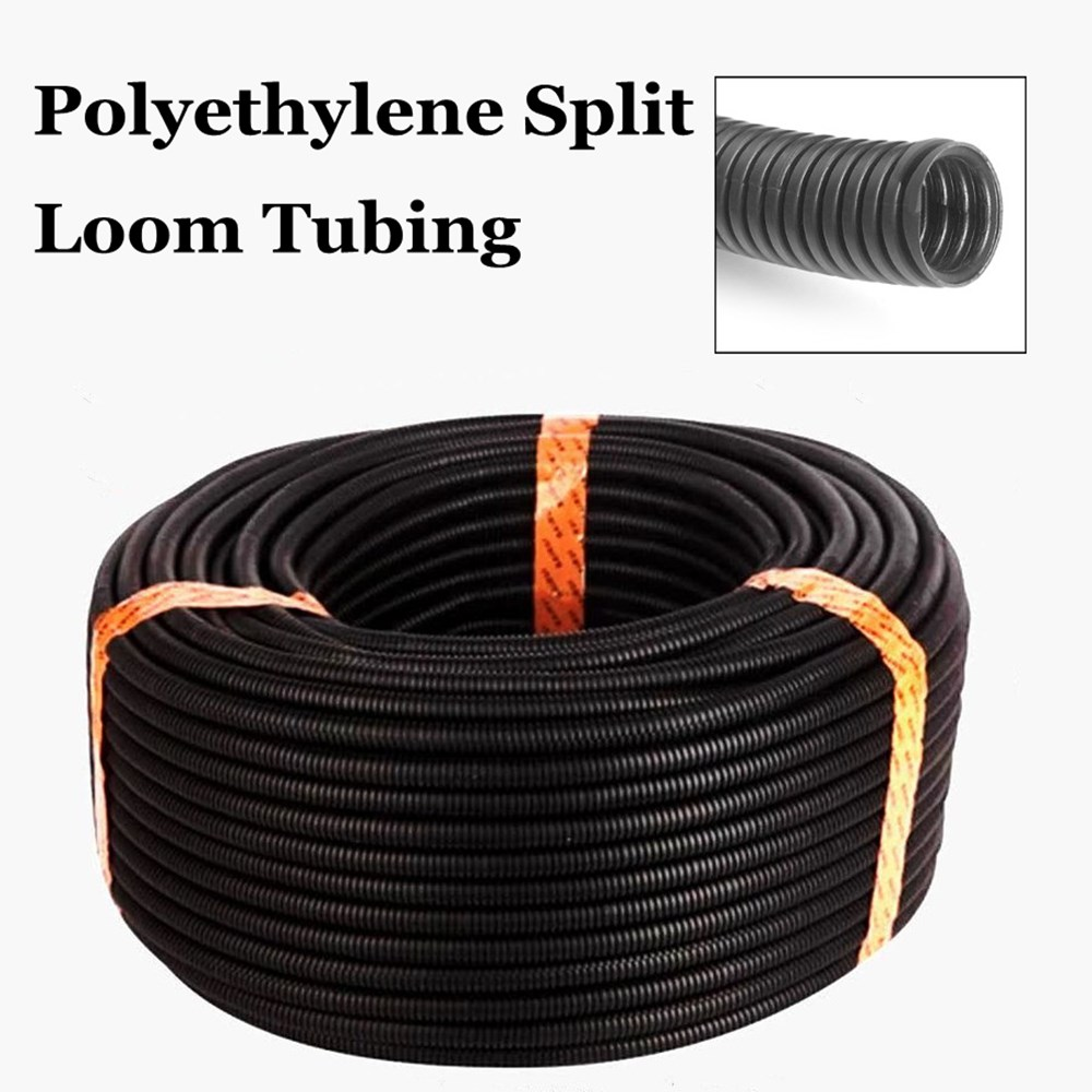100 Ft 5/16 Flexible Bellows Hose Corrugated Conduit Cable Split Wire Loom Polyethylene Tubing Sleeve Tube Pipe plastic coated metal hose 6410 mi stringing electrical conduit cable wire protection tube jiahouxing