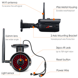 Image 2 - Anrun 1080P 8CH الرئيسية CCTV عدة نظام مراقبة الأمن في الهواء الطلق للرؤية الليلية كاميرا IP واي فاي مع 12 بوصة رصد NVR أطقم