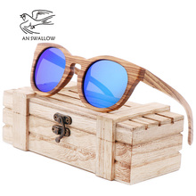 AN SWALLOW  2018 polarized zebra wood glasses handmade vintage wooden frame male driving sunglasses cool
