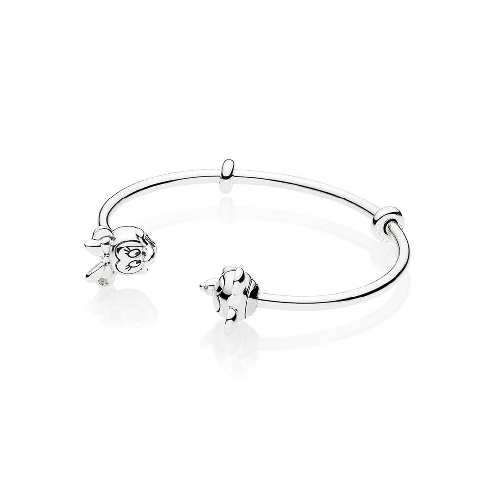 CHAMSS 2019 nouveau PAN Original charme 925 argent Sterling 1:1 haute qualité MI souris Bracelet jonc ouvert femme bijoux cadeau 597494