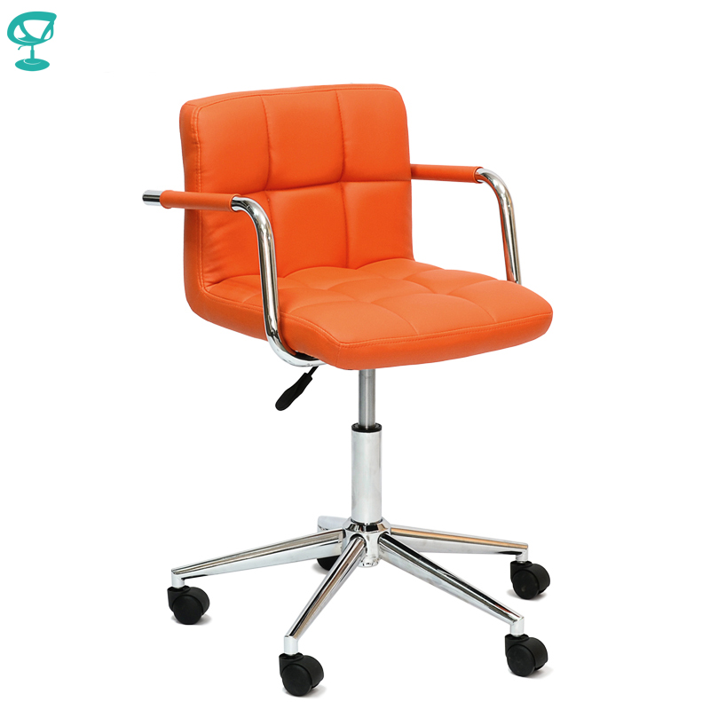 94964 Barneo N-69 Leather Roller Kitchen Chair Swivel Bar Chair Orange Free Shipping In Russia