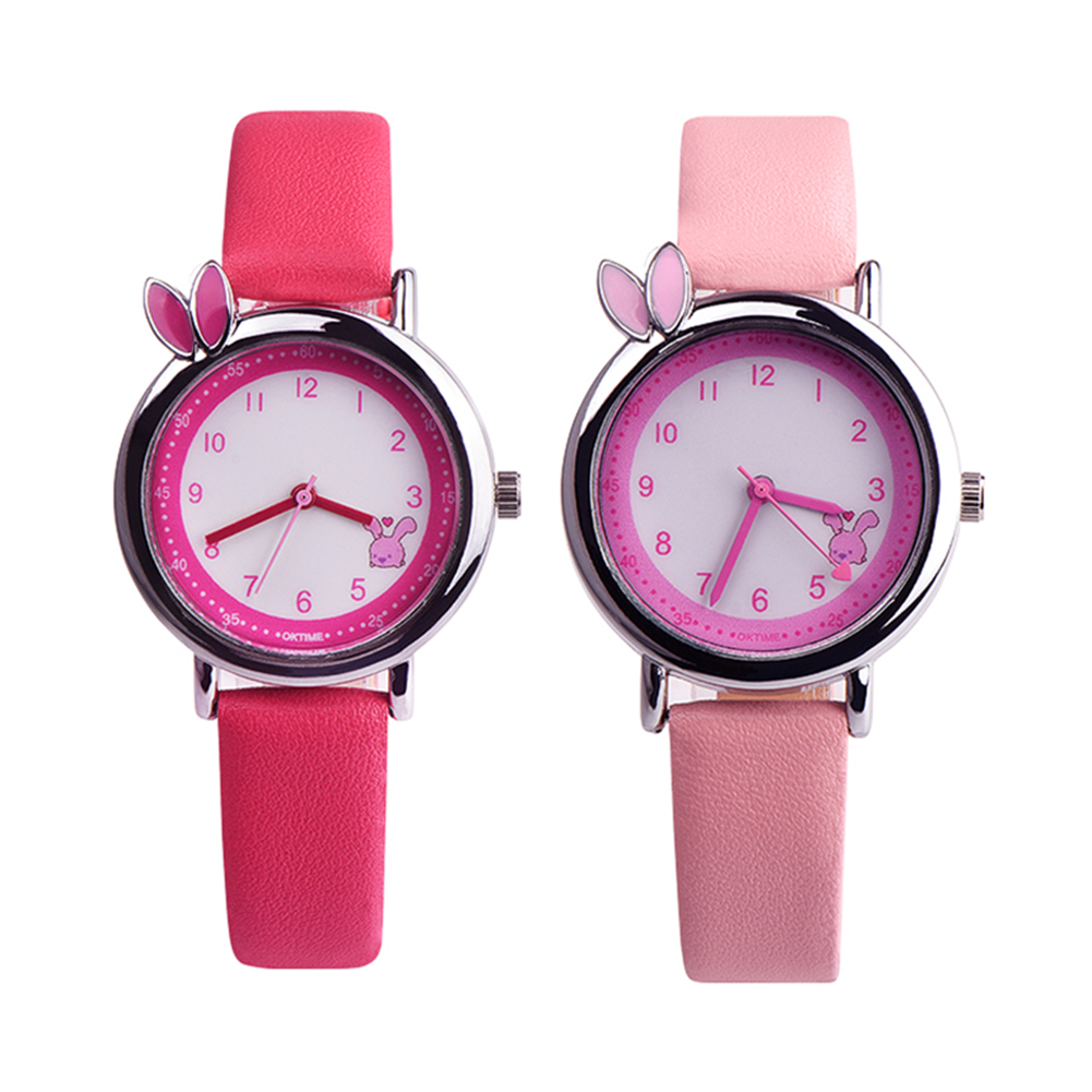 Cute Rabbit Ear Girls Faux Leather Band Waterproof Analog Quartz Wrist Watch super speed v0169 fashionable silicone band men s quartz analog wrist watch blue 1 x lr626