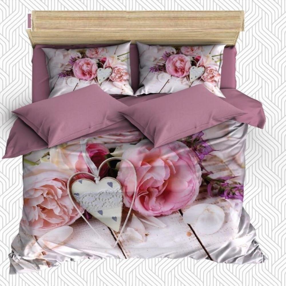 Other 6 pièces rose Roses cœurs blancs sur bois amour 3D impression coton Satin Double housse de couette literie ensemble taie d'oreiller drap de lit
