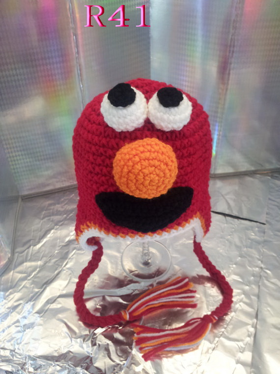Low Price 100 Cotton Childrens Earflaps Hatcute Elmo Crochet Hat