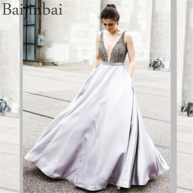 335156510aecd Baijinbai Sexy Low Cut Illusion V-neckline Prom Dresses Satin Beaded Ball  Gown Sleeveless Formal Evening Party Gowns with Pocket
