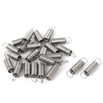 uxcell Hot Sale 24Pcs 0.5x6x25mm Stainless Steel Dual Hook Small Tension Spring Coil 0.5mm Dia Mini