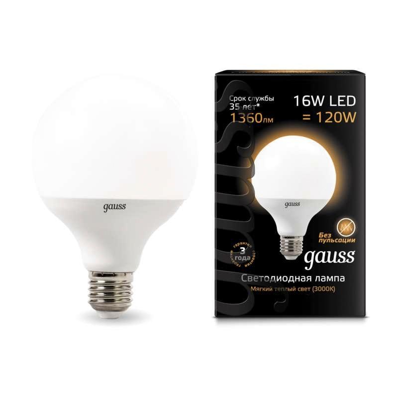 Лампа светодиодная шар Led G95 E27 16Вт 3000К 4100К Gauss 105102216 105102116 - 2