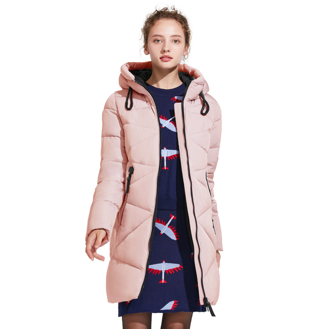 ICEbear 2017 Зимняя женская одноцветная длинная куртка высокого качества модная тёплая парка средней длины со стоячим воротником 17G650D
