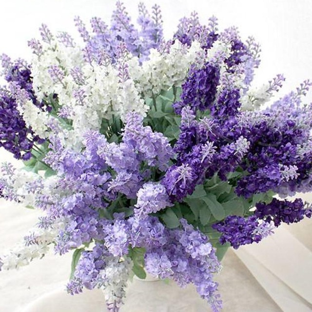 1Pcs 10 Heads Artificial Lavender Silk Flower For Bouquets Wedding ...