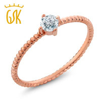 IGI Certified Diamond Solitaire Ring 0 15 Ct 10K Solid Rose Gold Eternity Rope