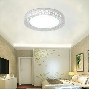Image 4 - 現代のledシーリングライトリビングルームの鉄照明器具ホーム装飾黒/白ラウンド鳥の巣の天井ランプ