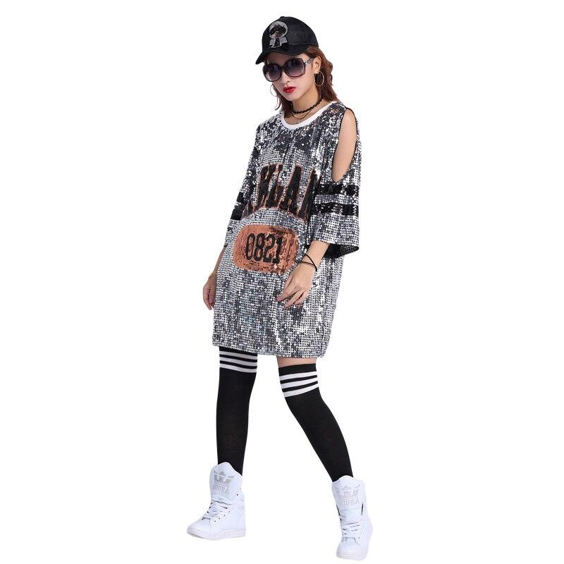 cheaper aa156 a8ea6 US $16.7 35% di SCONTO|Di Modo delle donne Vestido De festa Hip Hop  Scintillio T Camicette Vestito Oversize Bling Bling Abbigliamento-in Abiti  da ...