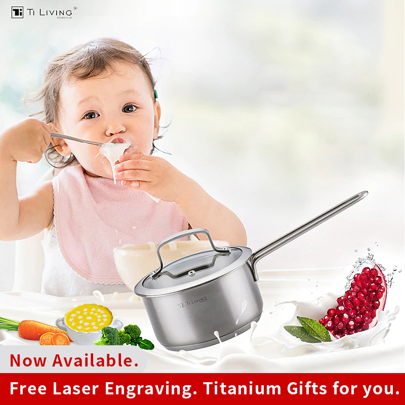 Pure Titanium Non-stick Pot Without Coating Milk Pan Single Handle Mini Hot Boiled Noodle Small Steamer Suitable No Heavy Metal