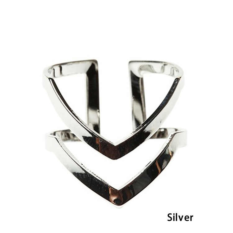 Модное Золотое серебряное покрытие двойное v-образное полуоткрытое регулируемое винтажное женское кольцо очаровательные украшения кольцо