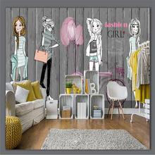 Ручная роспись деревянная доска Модная девушка одежда магазин