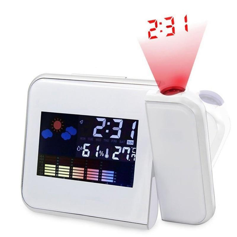 Upgrade time Digital Desk Alarm Clock Degrees Rotating Projection Multi function Display Time Electronic Clocks calendar