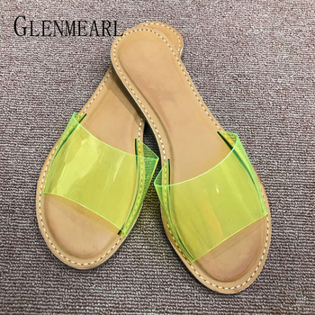 4ba9b6585ab8 Las mujeres zapatillas 2019 zapatos de verano transparente de PVC zapatos  casuales zapatos planos de mujer resbalón en zapatos de playa sandalias  Peep dedos ...