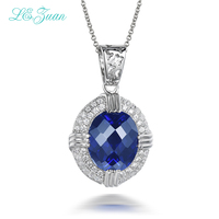 L & 6.58ct zuan الذكرى هدية 925 فضة الياقوت الأزرق قلادة قلادة للنساء فاخرة غرامة مجوهرات P0071