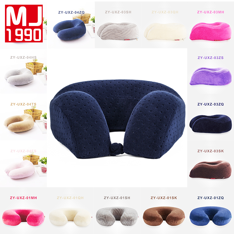 u shaped slow rebound 100 memory foam travel neck pillow for office flight traveling cotton - Memory Foam Neck Pillow