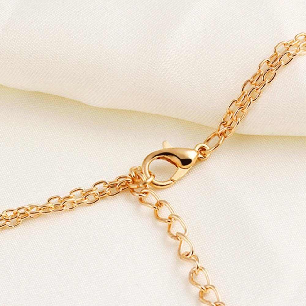 ファッションシンプルなロングローズゴールドペンダントチャーム合金ネックレス